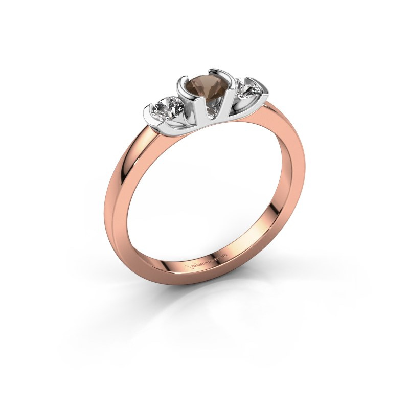 Ring Lucia 585 rose gold smokey quartz 3.7 mm