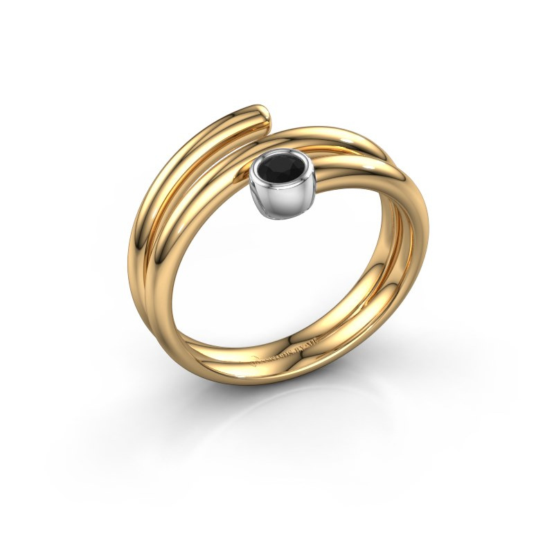 Ring Jenna 585 goud zwarte diamant 0.12 crt