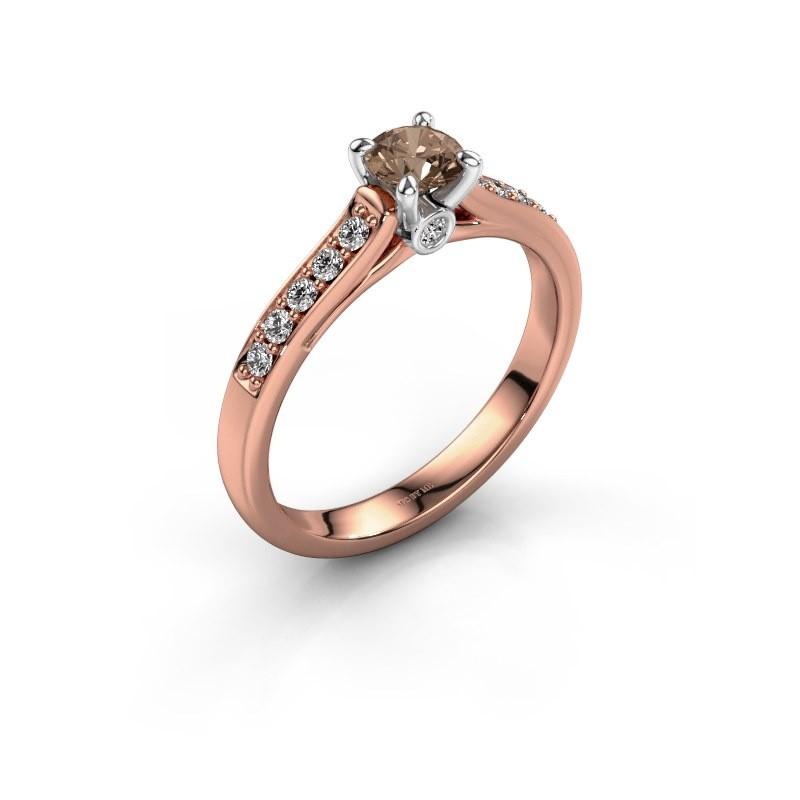 Verlovingsring Valorie 2 585 rosé goud bruine diamant 0.40 crt