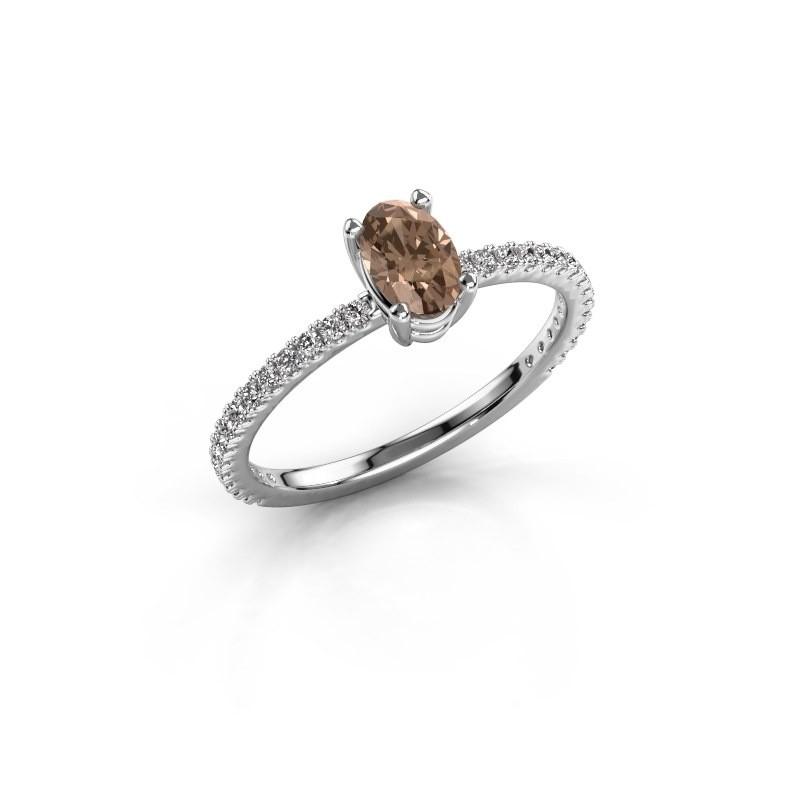 Verlovingsring Lynelle 2 925 zilver bruine diamant 0.50 crt