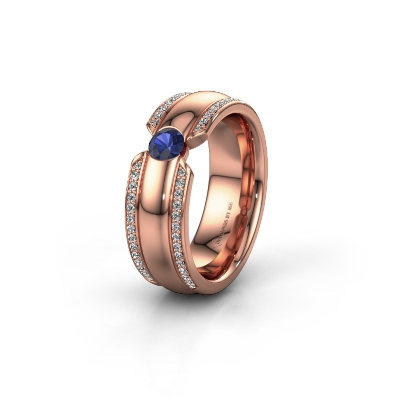 Wedding ring WHR0575L 375 rose gold sapphire ±0.28x0.08 in