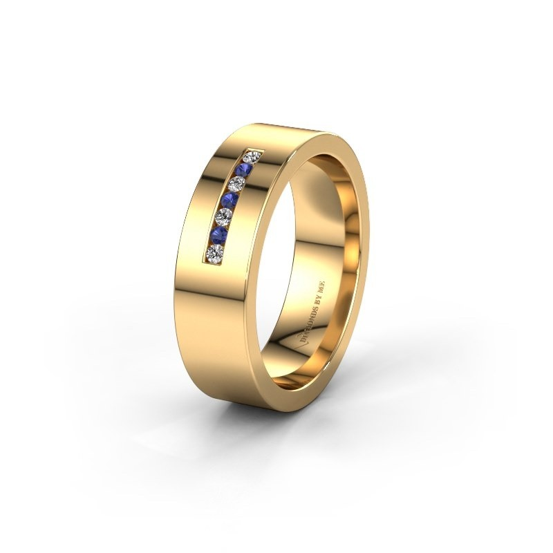 Wedding ring WH0108L16BP 375 gold sapphire ±0.24x0.08 in