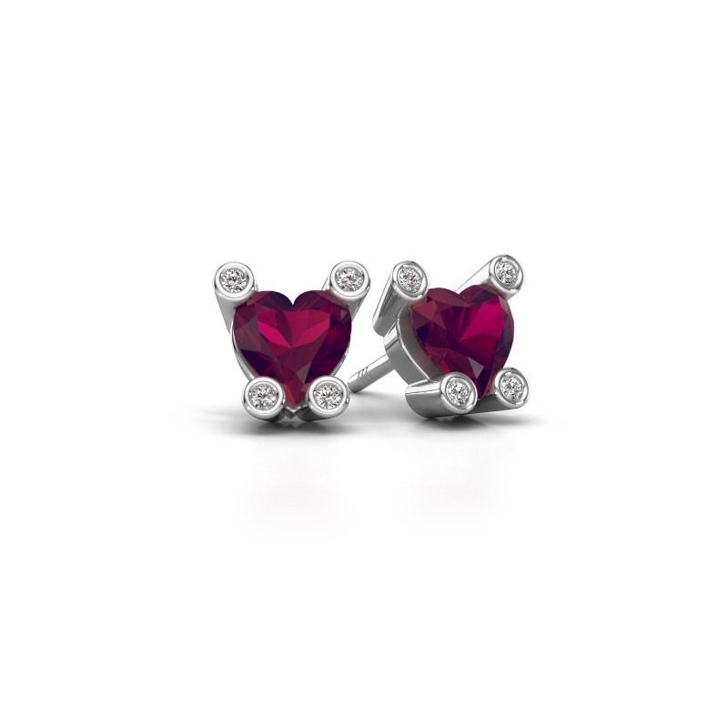 Oorstekers Cornelia Heart 375 witgoud rhodoliet 6 mm