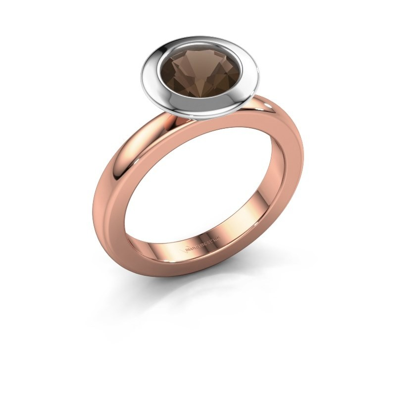 Stapelring Trudy Round 585 rosé goud rookkwarts 7 mm