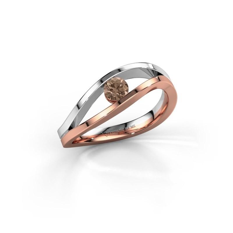 Engagement ring Sigrid 1 585 rose gold brown diamond 0.20 crt