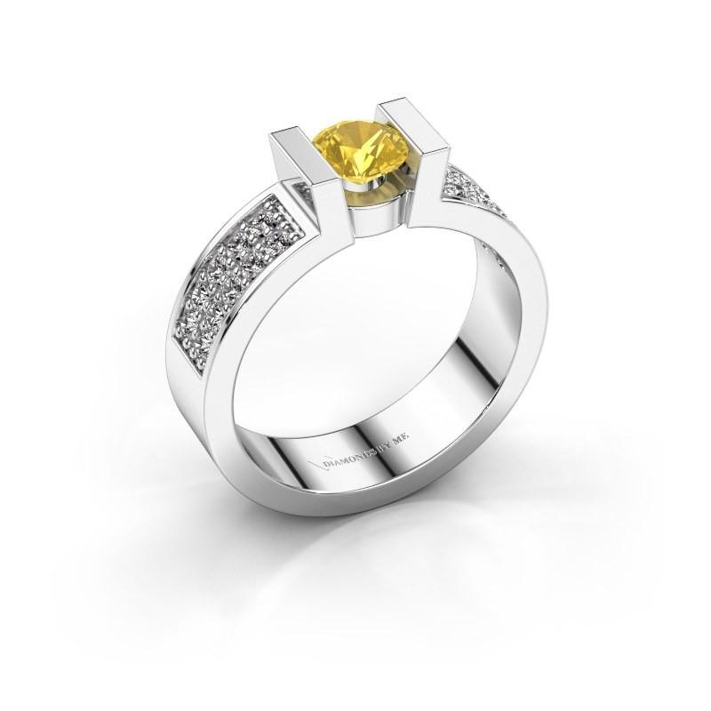Verlovingsring Lieve 3 950 platina gele saffier 5 mm