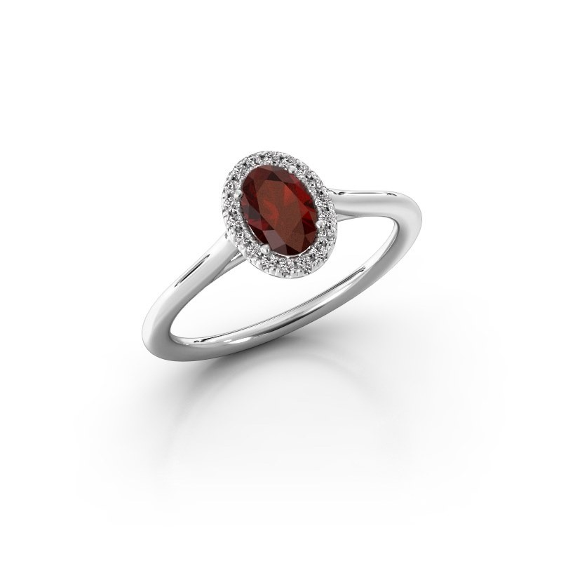 Engagement ring Seline 1 925 silver garnet 6x4 mm