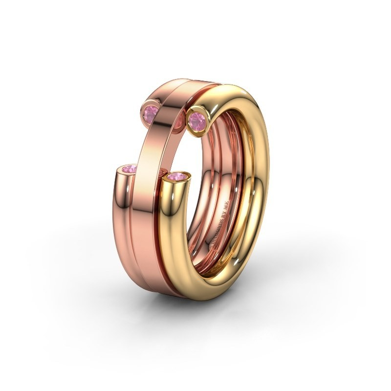 Wedding ring WH6018L 585 gold pink sapphire ±0.31x0.12in