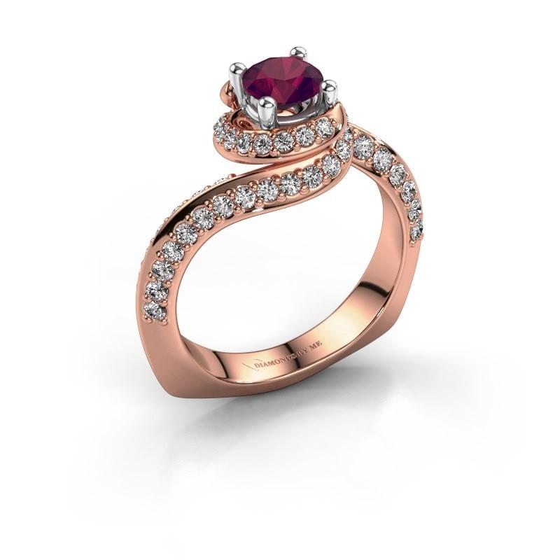 Engagement ring Sienna 585 rose gold rhodolite 5 mm