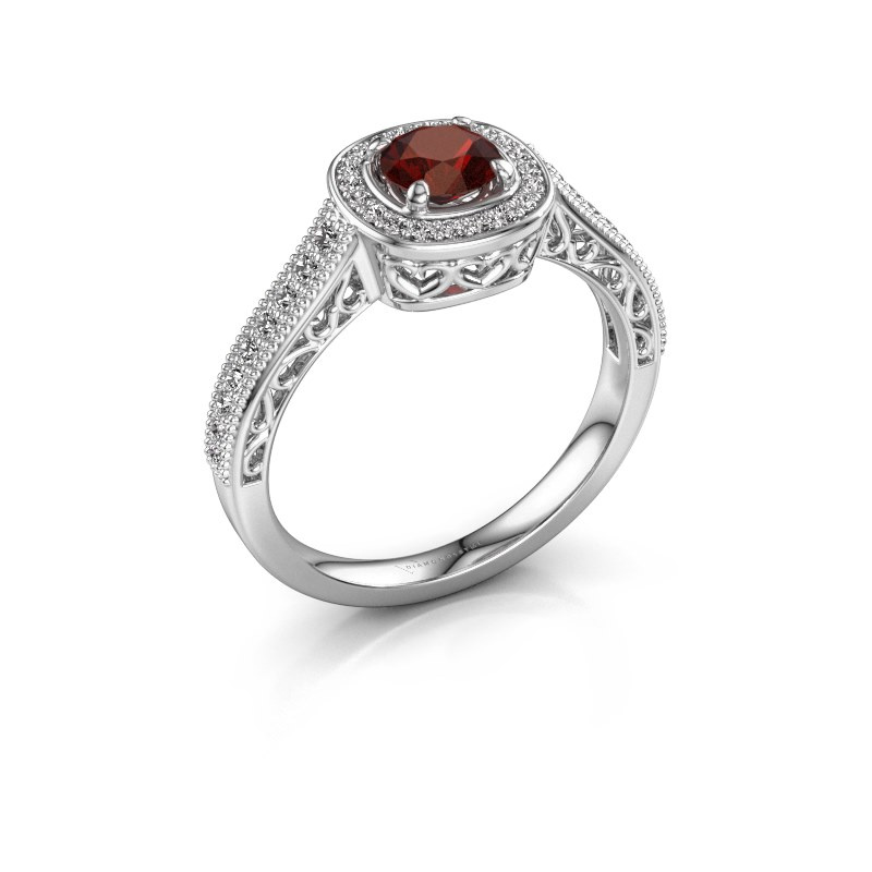 Engagement ring Candi 585 white gold garnet 5 mm