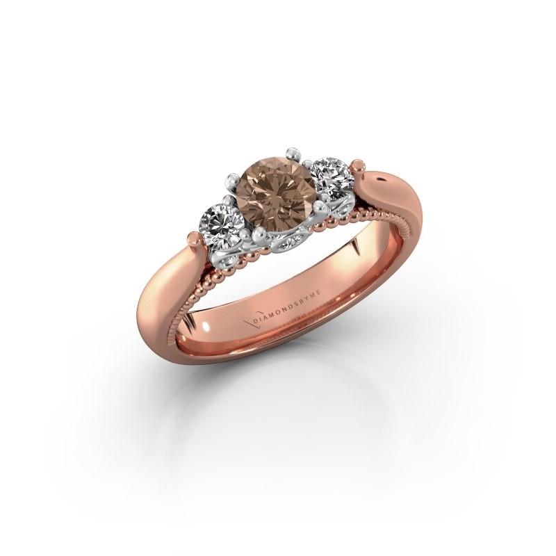 Verlovingsring Tiffani 585 rosé goud bruine diamant 0.74 crt