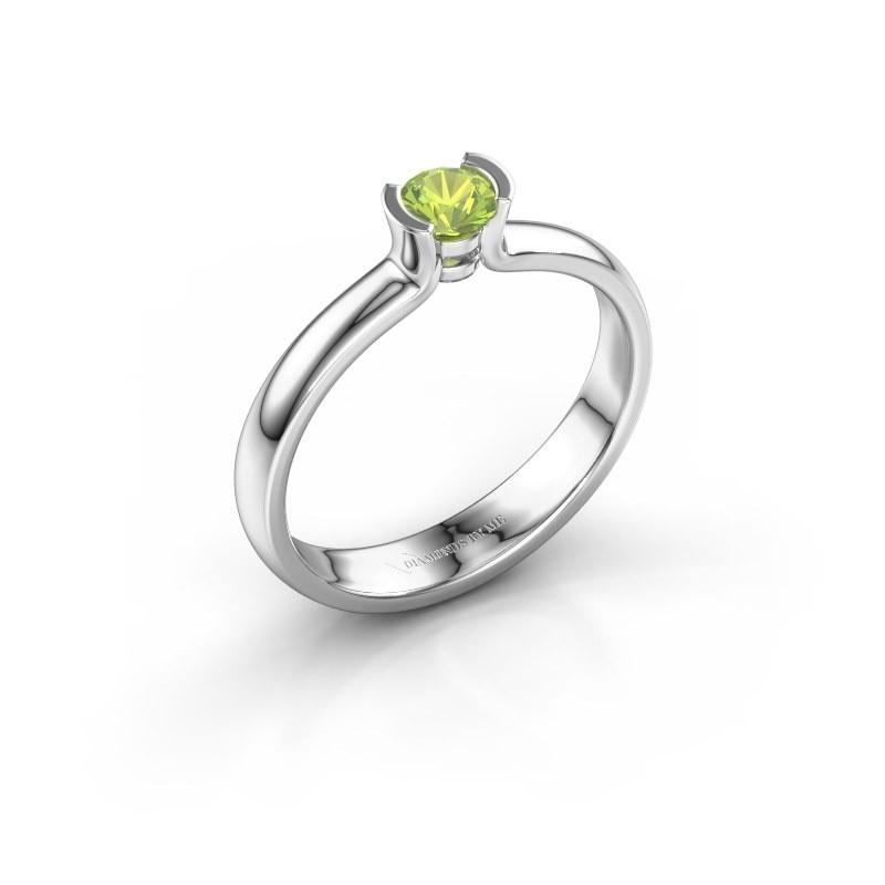 Engagement ring Ophelia 925 silver peridot 4 mm