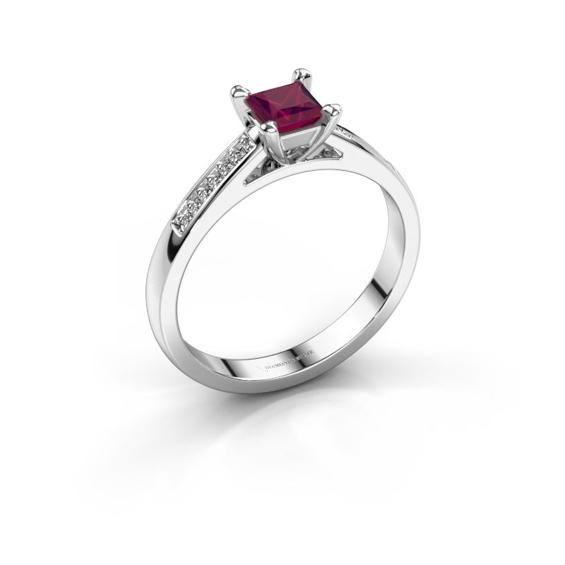 Engagement ring Nynke SQR 950 platinum rhodolite 4 mm
