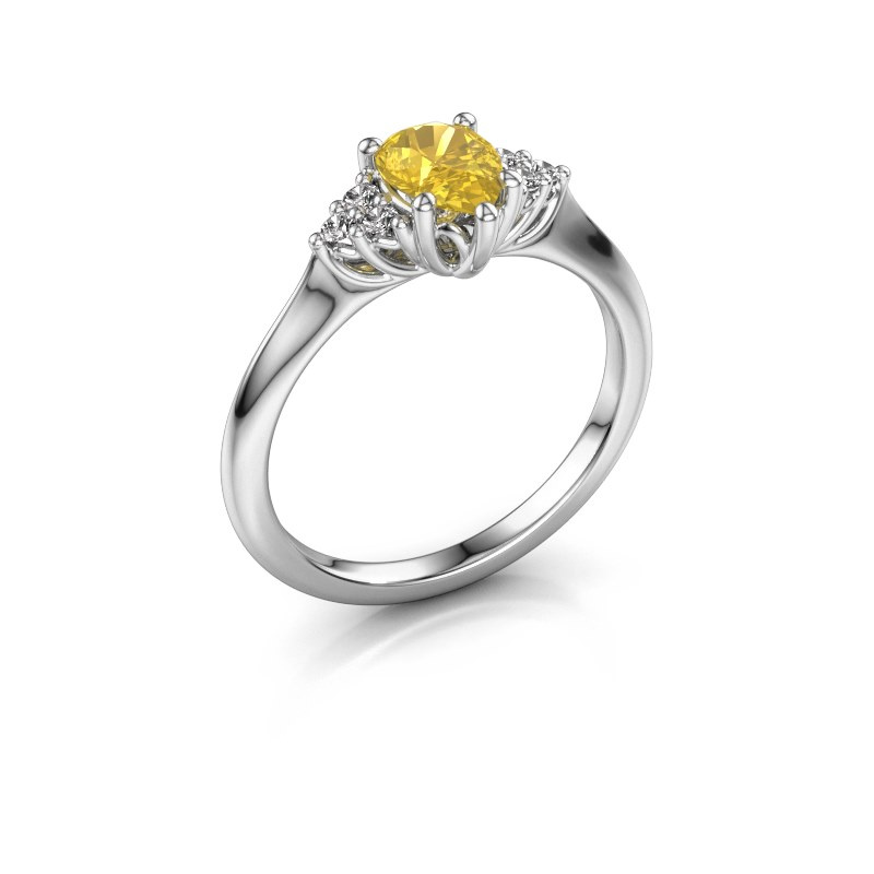 Verlobungsring Felipa per 925 Silber Gelb Saphir 7x5 mm