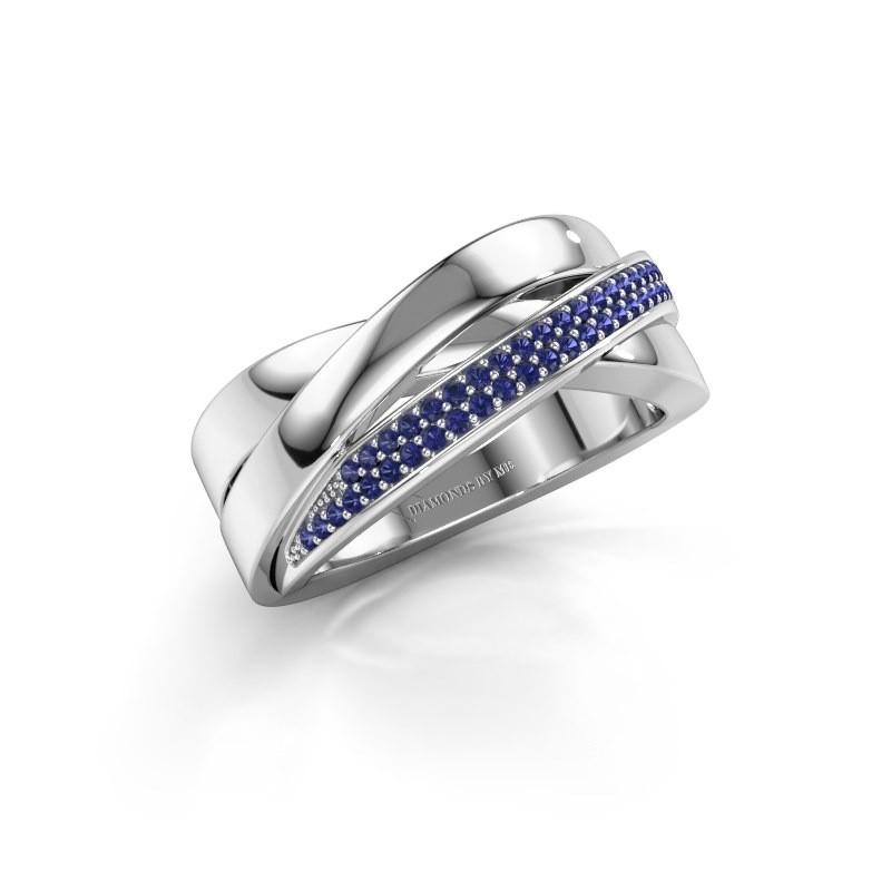 Ring Katherina 925 zilver saffier 1 mm
