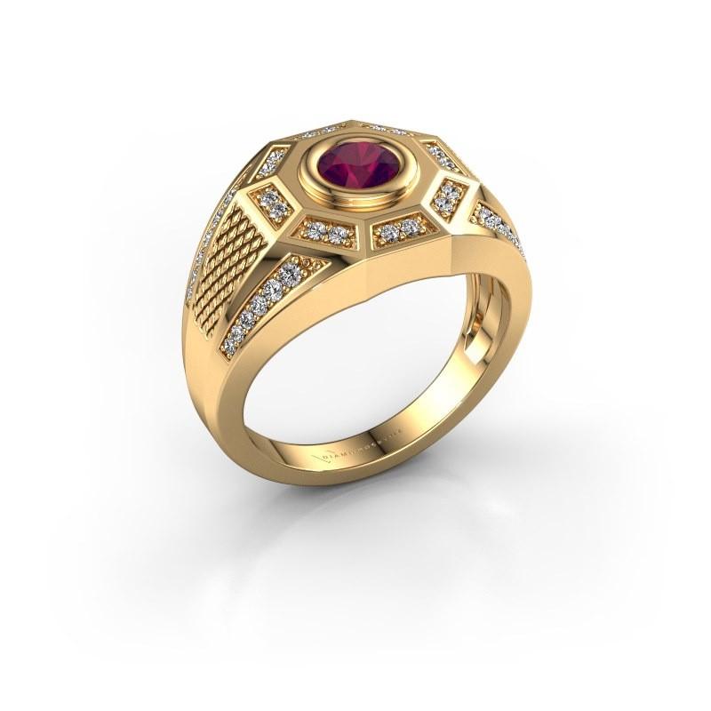 Heren ring Enzo 585 goud rhodoliet 5 mm