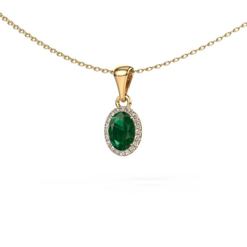 Hanger Seline ovl 585 goud smaragd 7x5 mm
