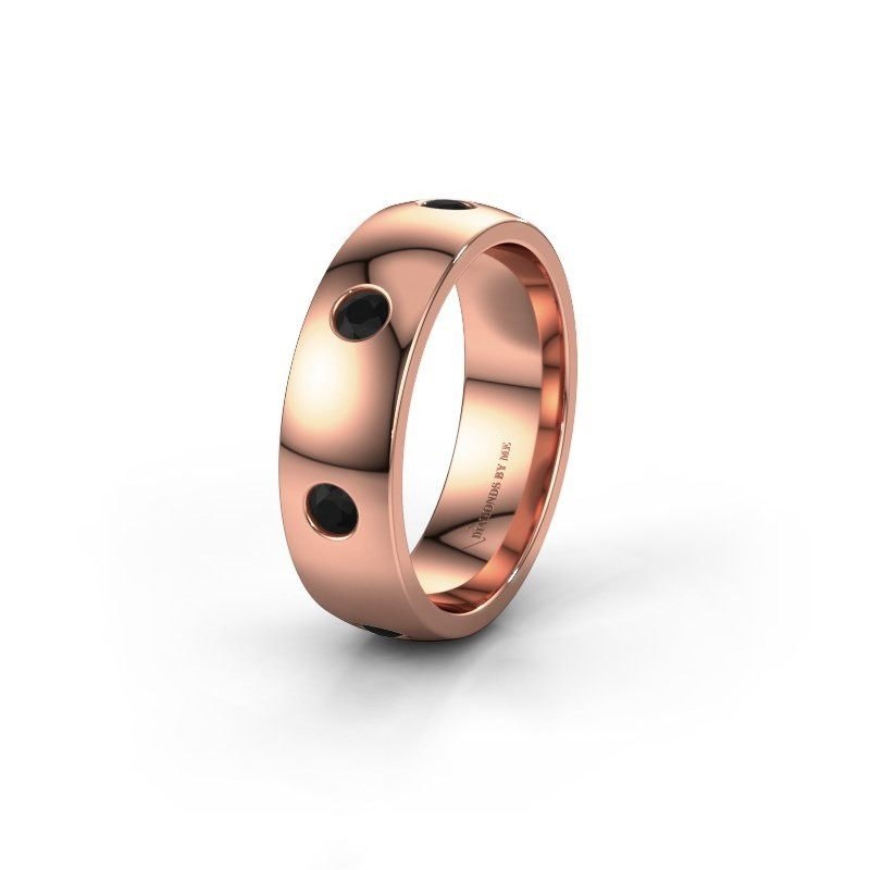 Wedding ring WH0105L26BP 375 rose gold black diamond ±6x2 mm