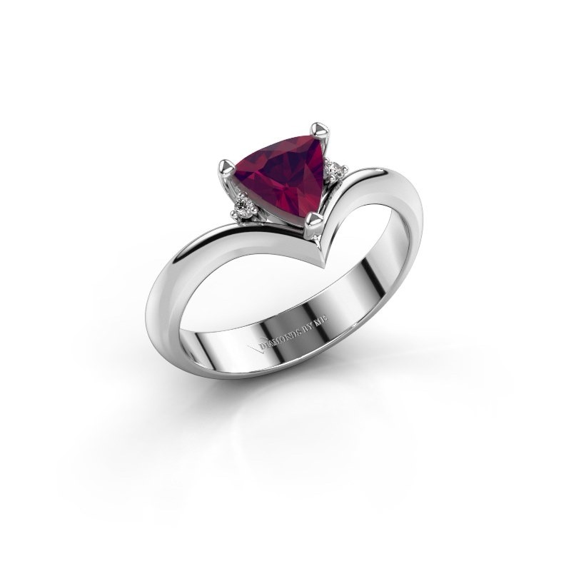Ring Arlette 585 witgoud rhodoliet 7 mm