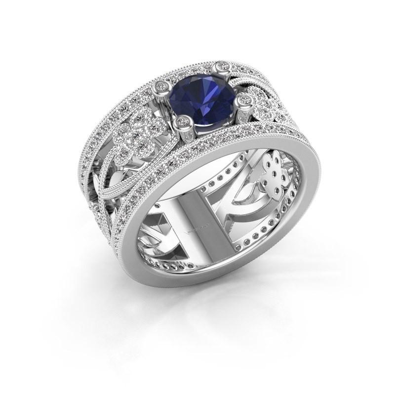 Ring Severine 925 zilver saffier 6 mm