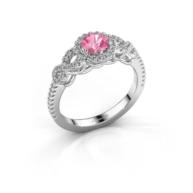 Verlovingsring Sasja 950 platina roze saffier 5 mm