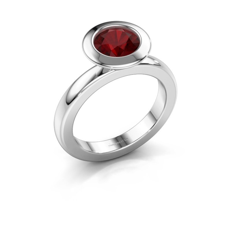 Stacking ring Trudy Round 585 white gold ruby 7 mm