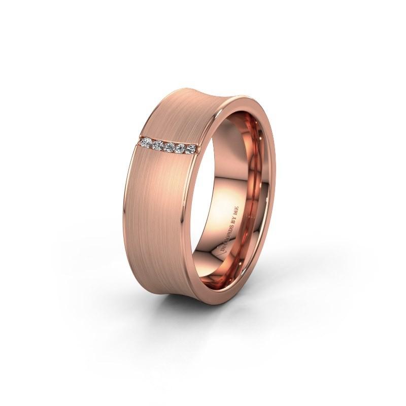 Trouwring WH2021B 375 rosé goud diamant ±7x2 mm