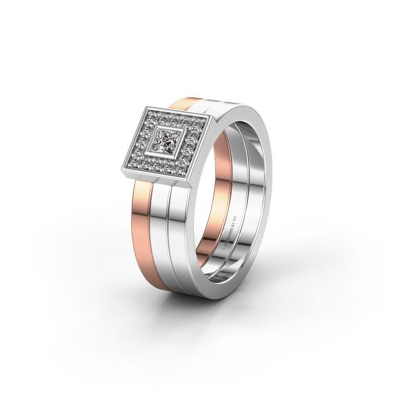 Trouwring WH2104L 585 rosé goud diamant ±6x2.8 mm