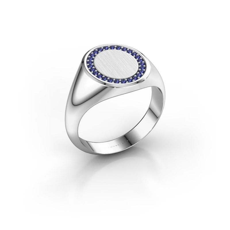 Men's ring Floris Oval 3 375 white gold sapphire 1.2 mm