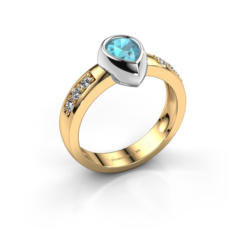 Ring Charlotte Pear 585 gold blue topaz 8x5 mm