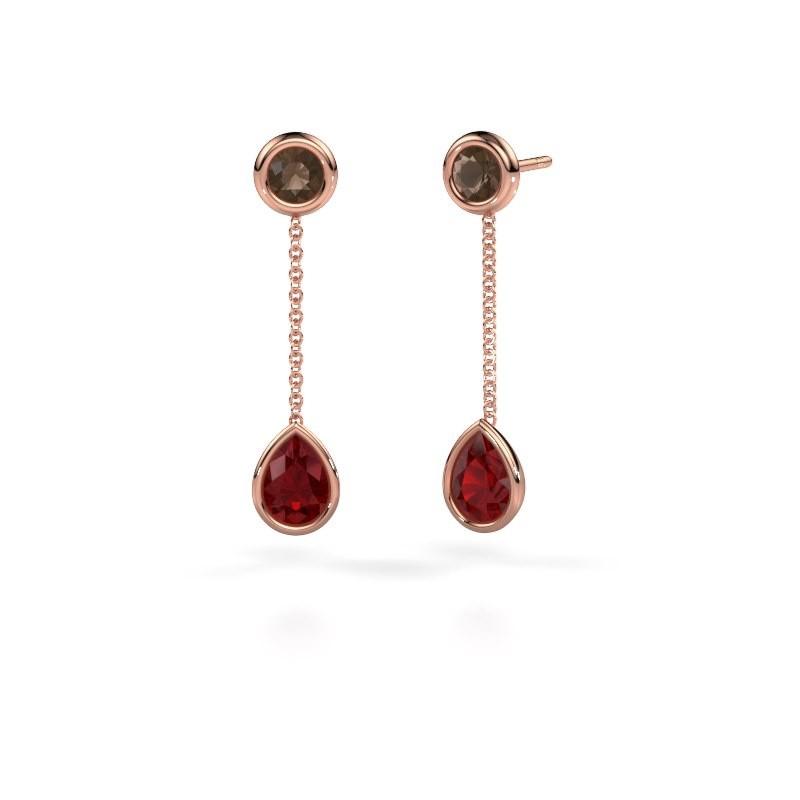 Drop earrings Ladawn 585 rose gold ruby 7x5 mm