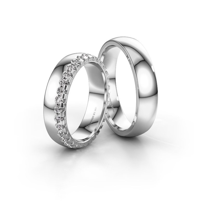 Trauringe set WH6122LM25BP ±5x2 mm 14 Karat Weissgold Diamant 0.825 crt
