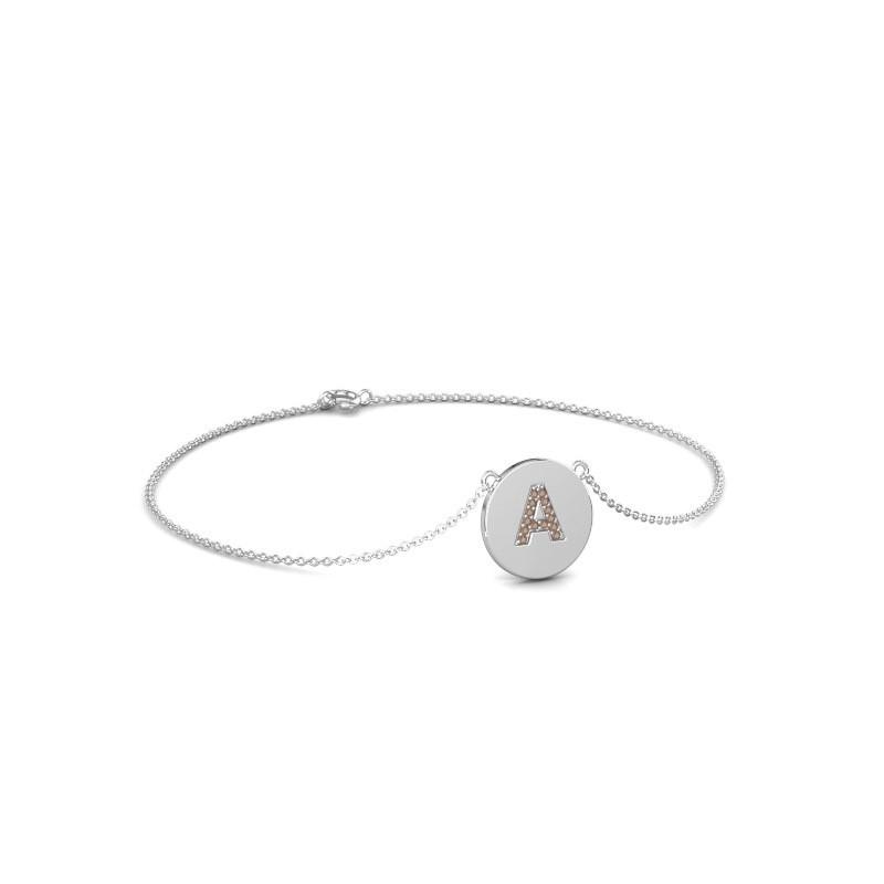 Armband Initial 050 375 witgoud bruine diamant 0.07 crt