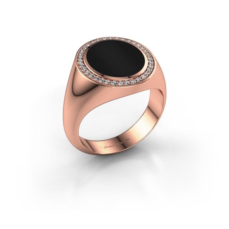 Signet ring Adam 3 375 rose gold onyx 13x11 mm