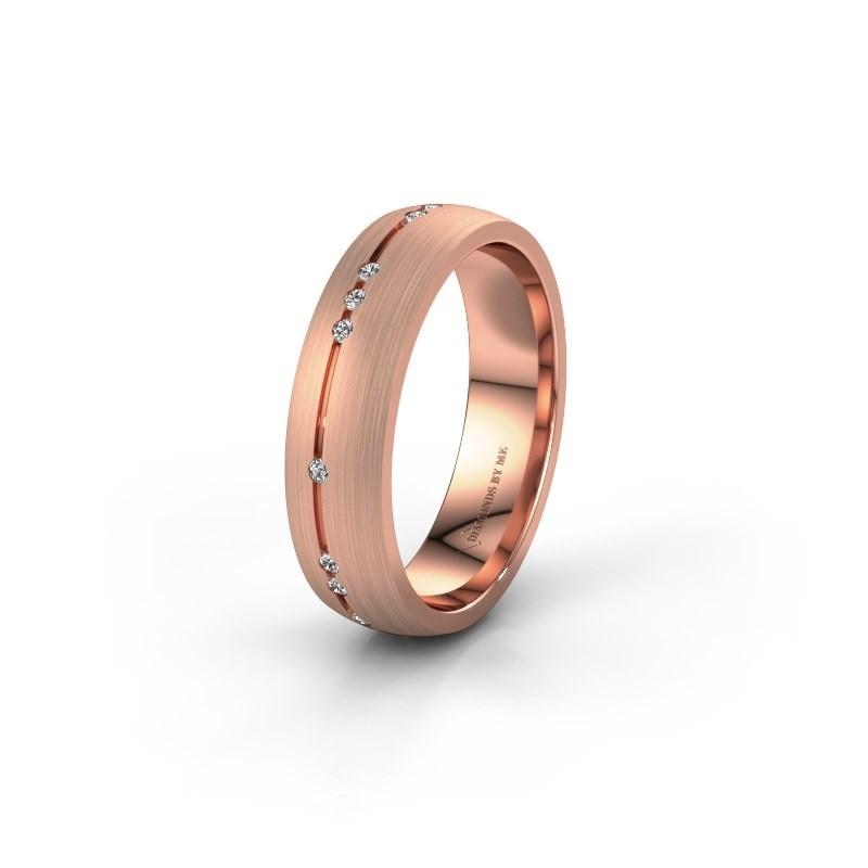 Trouwring WH0166L25A 375 rosé goud zirkonia ±5x1.7 mm