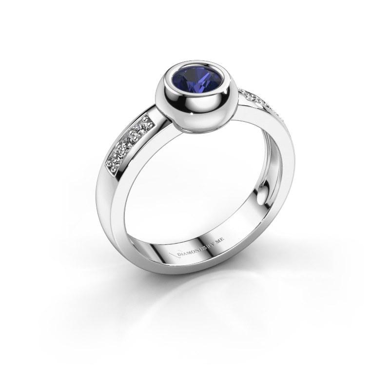 Ring Charlotte Round 925 zilver saffier 4.7 mm