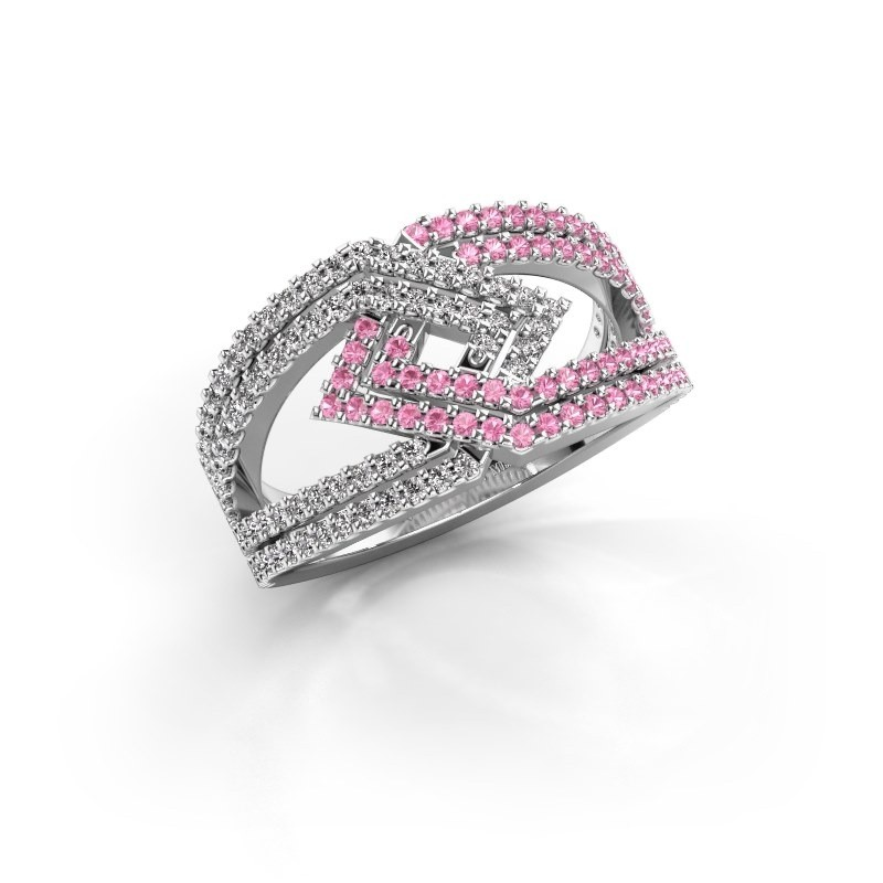 Ring Emanuelle 585 witgoud roze saffier 1 mm