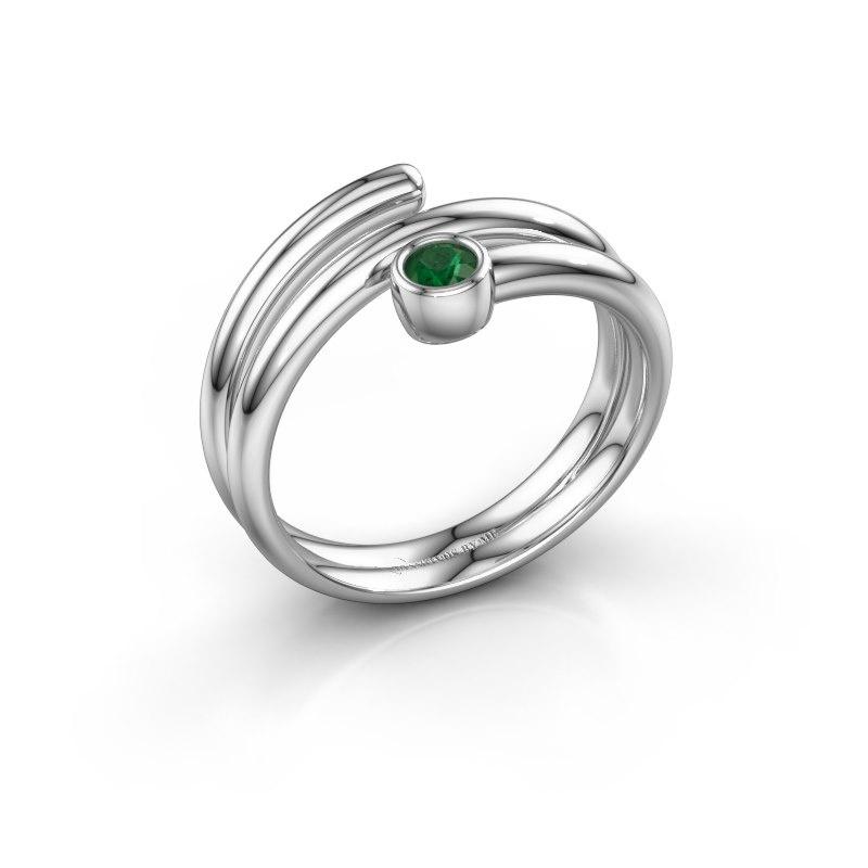 Ring Jenna 950 platina smaragd 3 mm