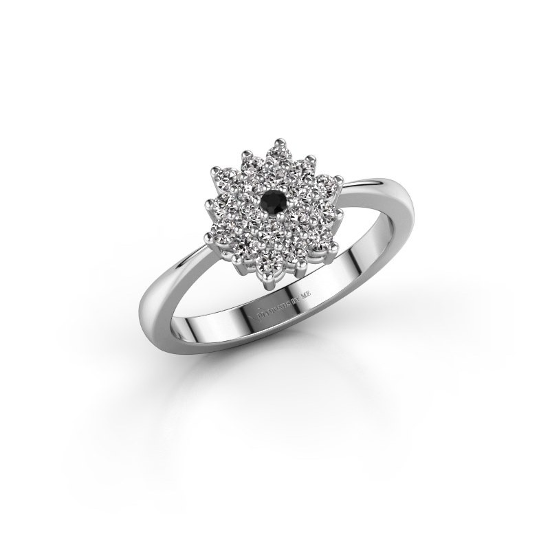 Engagement ring Vickey 1 585 white gold black diamond 0.03 crt