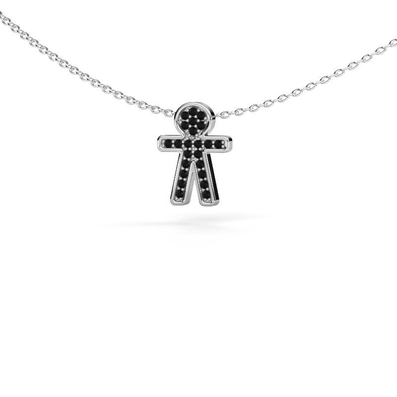 Pendentif Boy 925 argent diamant noir 0.138 crt
