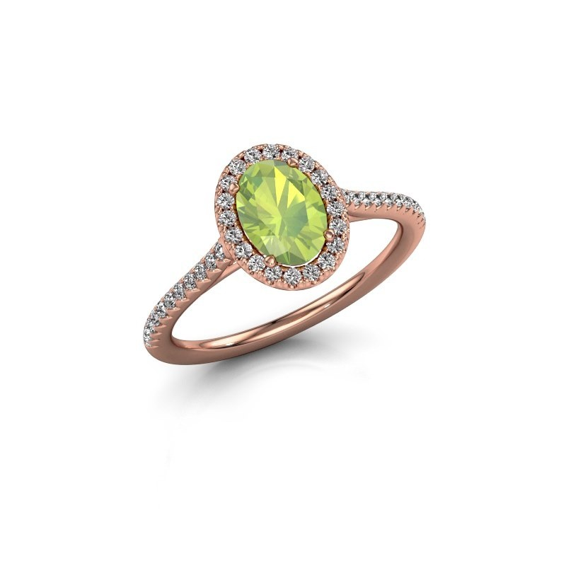 Engagement ring Seline 2 585 rose gold peridot 7x5 mm