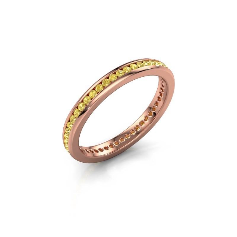 Aanschuifring Lura 1 375 rosé goud gele saffier 1.3 mm