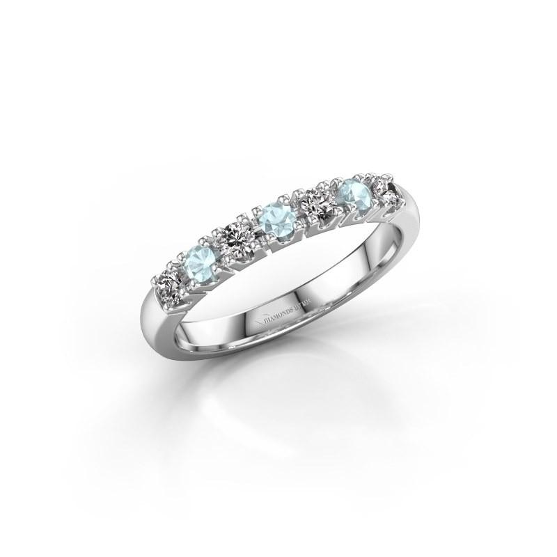 Engagement ring Rianne 7 950 platinum aquamarine 2.4 mm
