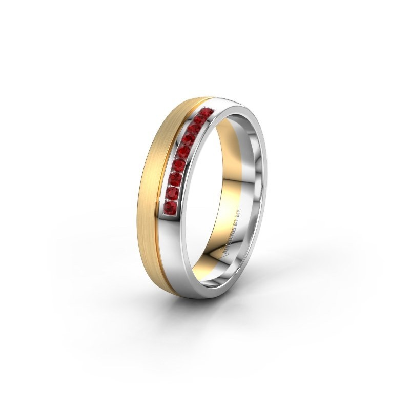 Wedding ring WH0209L25APM 585 gold ruby ±0.20x0.07 in