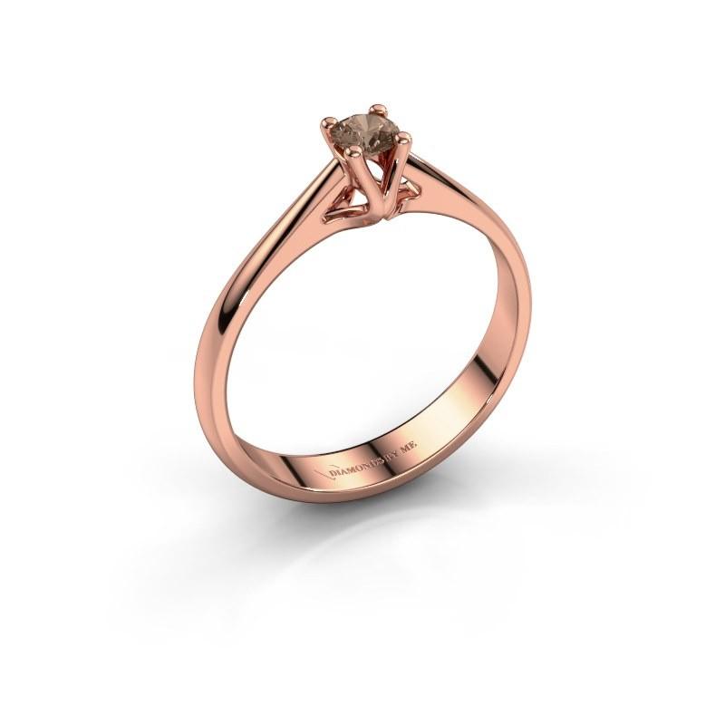 Engagement ring Janna 1 375 rose gold brown diamond 0.15 crt