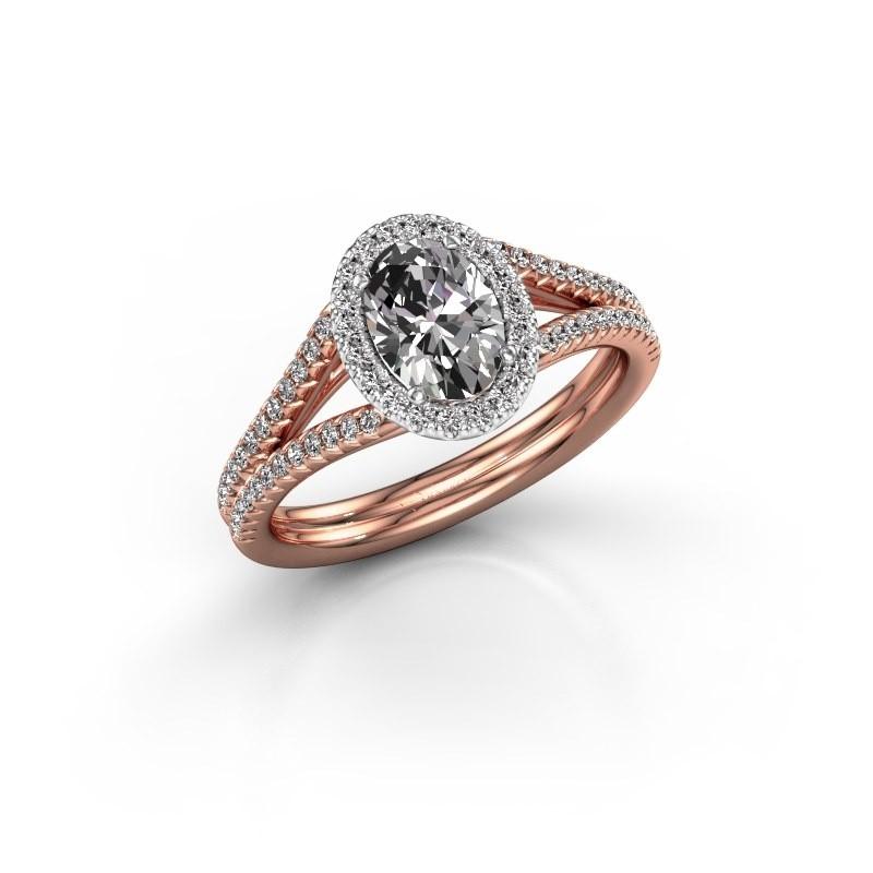 Engagement ring Rachele 2 585 rose gold zirconia 7x5 mm