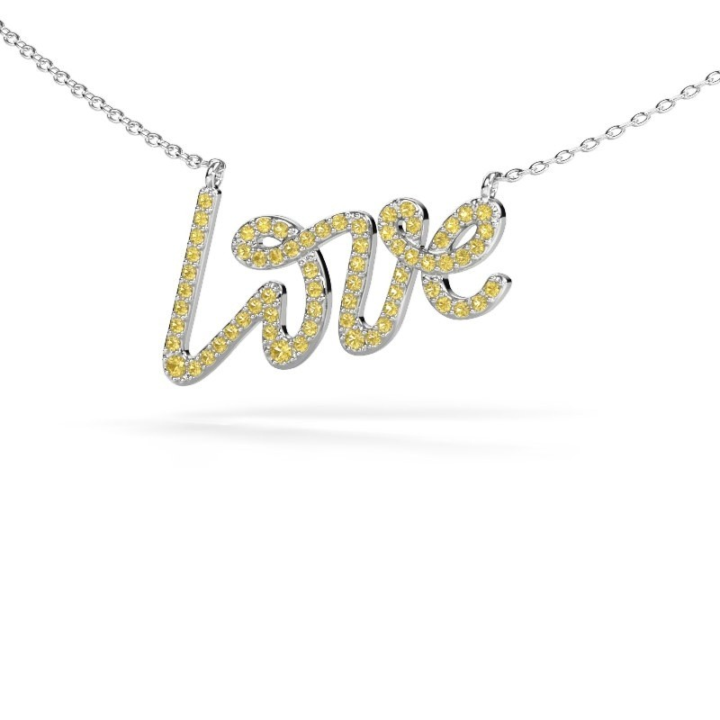Pendant Love 925 silver yellow sapphire 1 mm