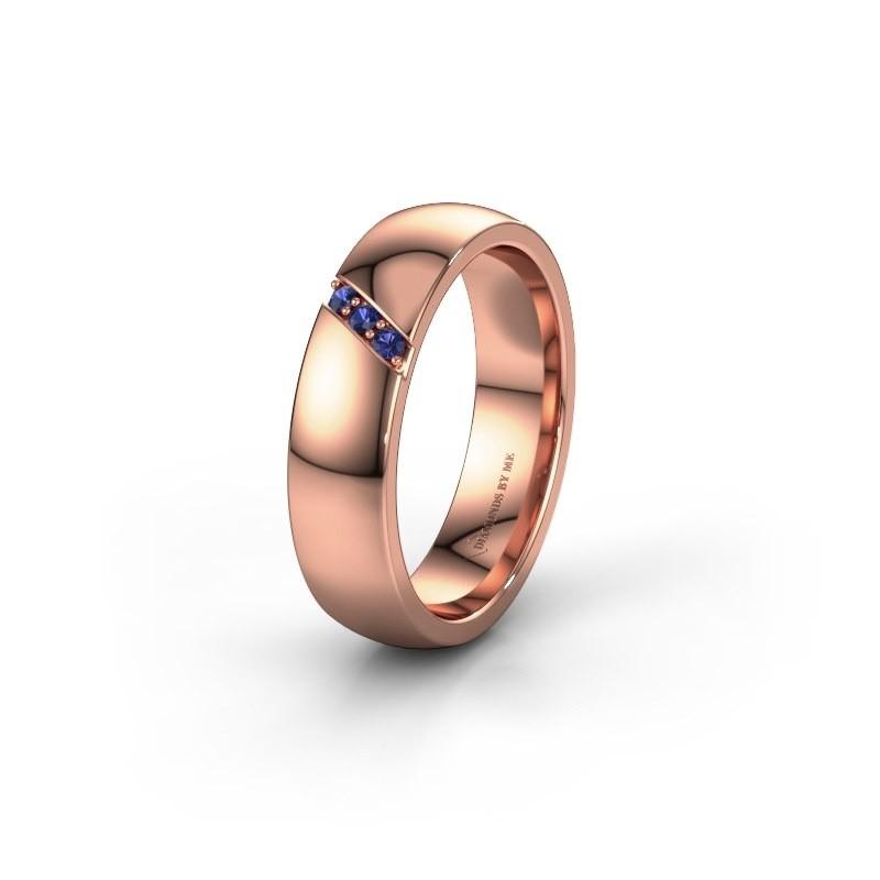 Wedding ring WH0174L25BP 375 rose gold sapphire ±5x2 mm