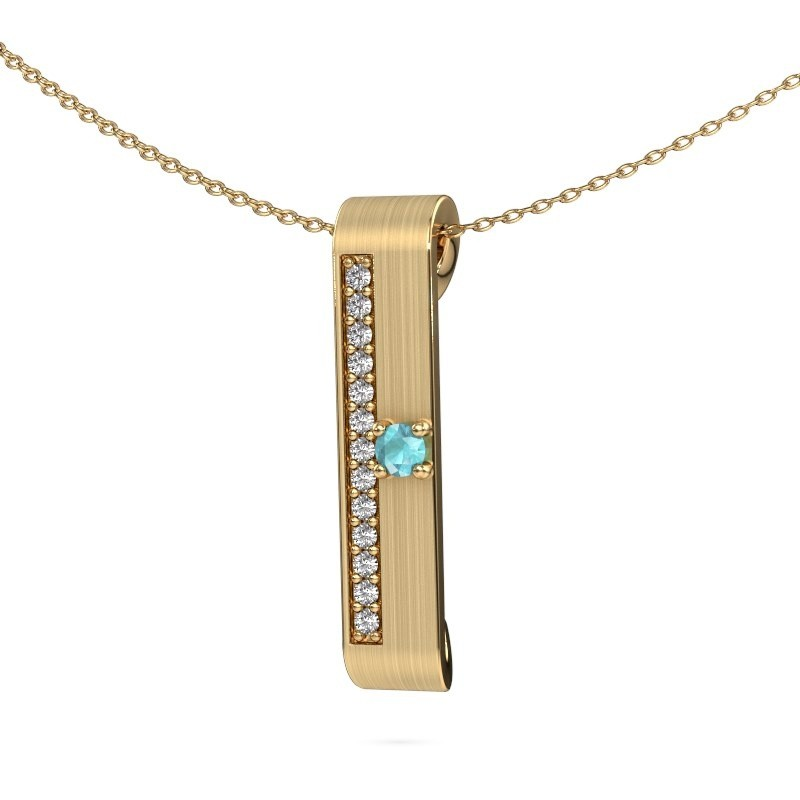 Halsketting Vicki 375 goud blauw topaas 3 mm