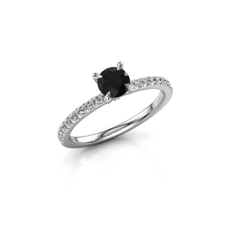Verlovingsring Crystal rnd 2 585 witgoud zwarte diamant 0.78 crt